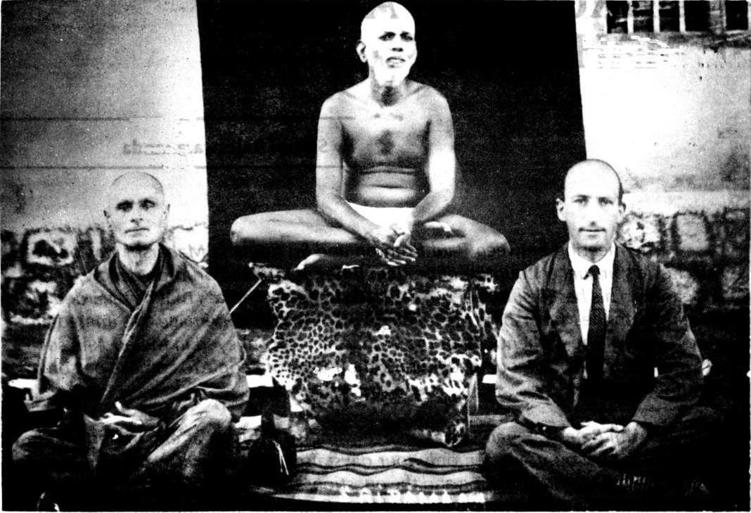 Photo of Swami Prajnananda, Ramana Maharshi, and Paul Brunton in 1930.