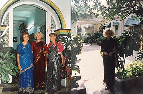 Photo of Australian devotees at the lobby entrance of the Bombay Ananda Bhavan Hotel, and the front garden taken from the terrace under the trees.